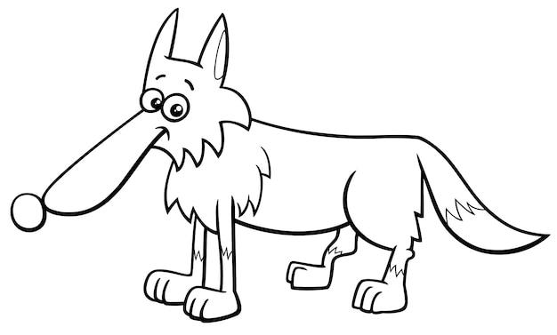 オオカミ動物キャラクター漫画ぬりえ本