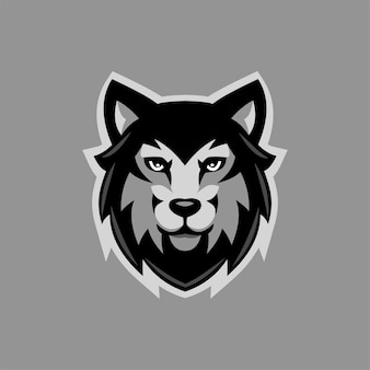 Wolf animal head cartoon logo template illustration. esport logo gaming premium vector