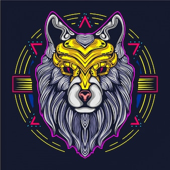 Wolf artwork illustration decorative face