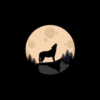 夜月背景イラストと山の頂上のオオカミ