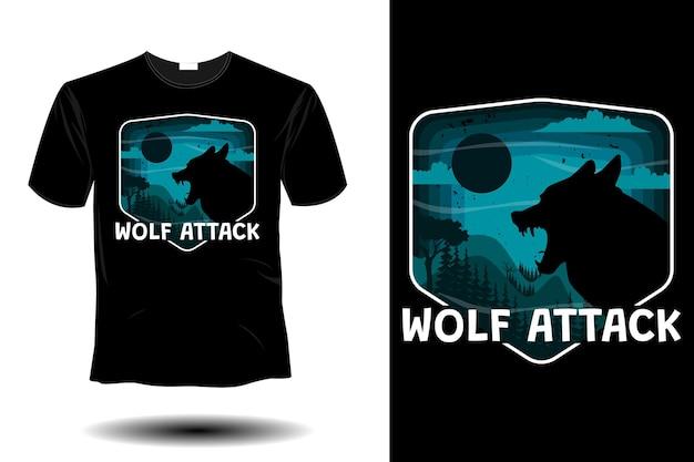 Wolf attack mockup retro vintage design