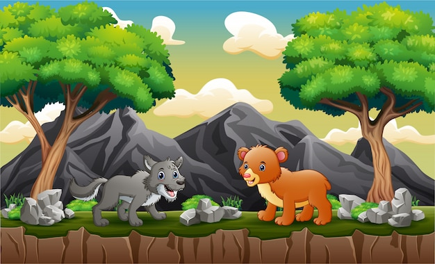 Wolf and baby bear in the jungle