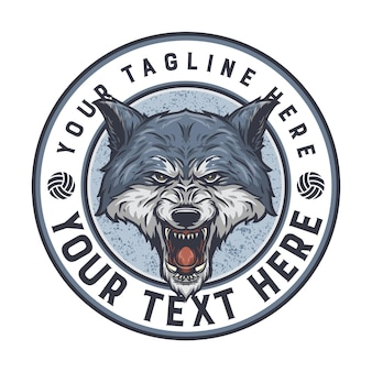 Wolf badge, easy to change color text and ready to use for any need
