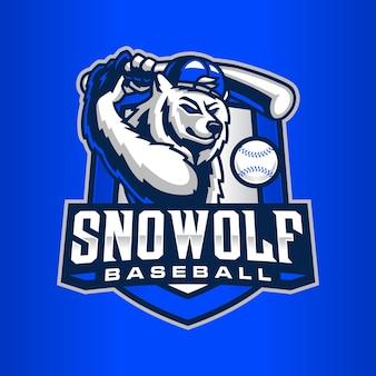Wolf baseball logo templat