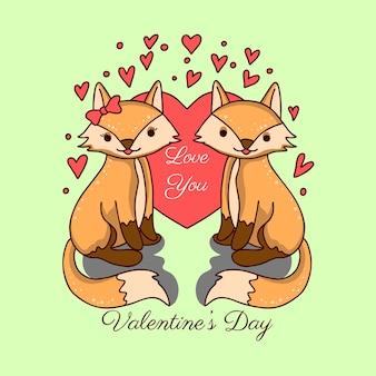 Wolf couple animal valentine day