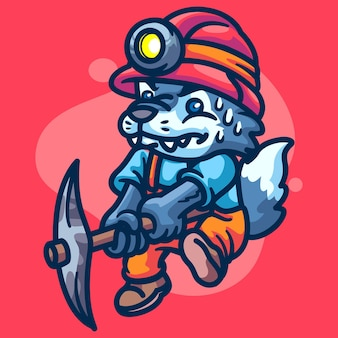 Волк crypto miner персонаж иллюстрация