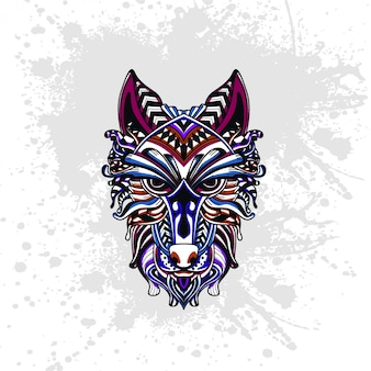 Wolf decorated with abstract shapes