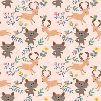 Wolf and deer in garden seamless pattern.