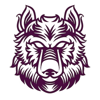 シャツデザインのオオカミの詳細図