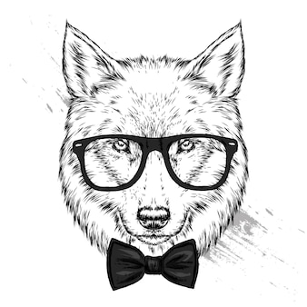 Wolf or dog with glasses and tie illustration