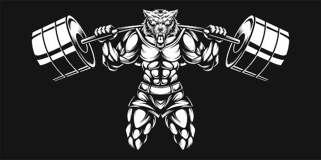 Wolf and dumbell, black and white illustration
