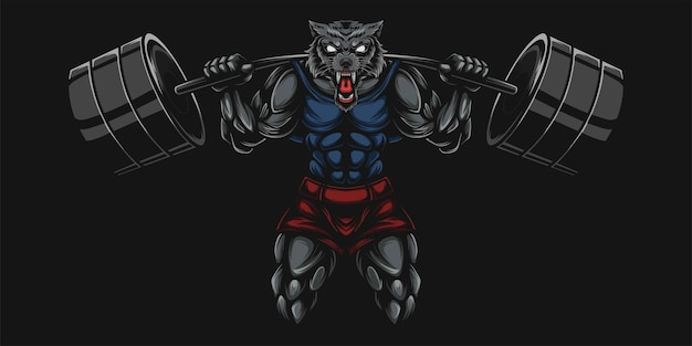 Wolf and dumbell heavy illustration