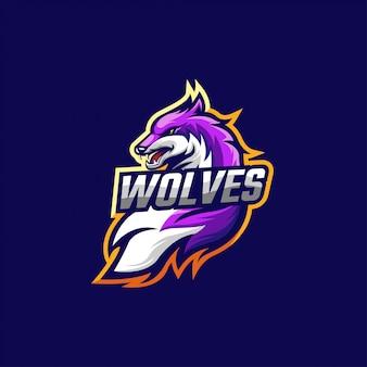 Wolf e sport logo creative template