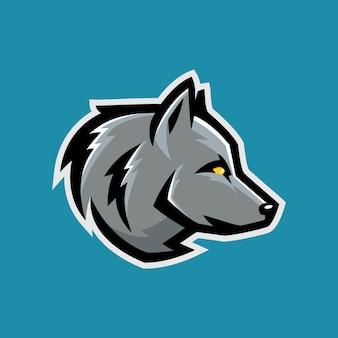 Шаблон игрового логотипа wolf e-sport