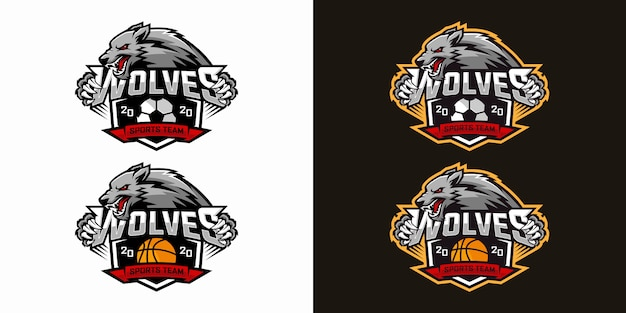 Дизайн логотипа wolf e-sports