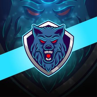 Дизайн логотипа талисмана wolf esport