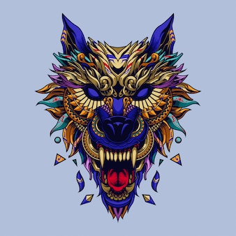 Wolf ethnic illustration and tshirt design