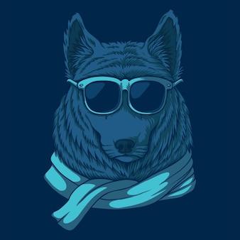 Волк очки иллюстрация