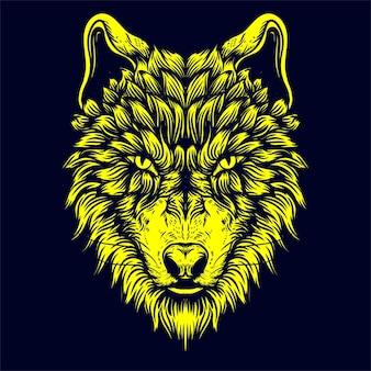 Wolf face artwork illustration