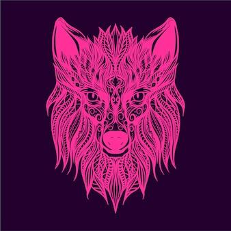 늑대 얼굴 삽화 삽화