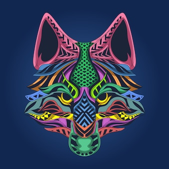 Wolf face colorfull artwork