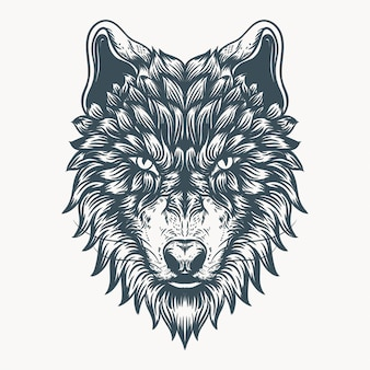Wolf face hand drawn illustration