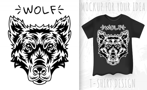 Wolf face and t-shirt in vintage monochrome style