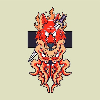 オオカミの火とタコのイラストレトロなスタイルのtシャツ