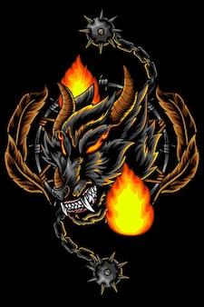 Волк огонь голова талисман дизайн иллюстрация