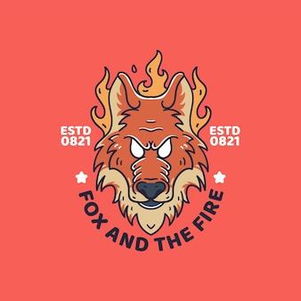オオカミの火のイラストレトロなスタイルのtシャツ