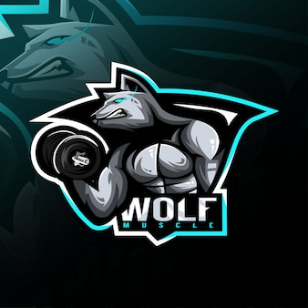 Wolf fitness mascot logo esport design