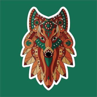 Wolf flat design sticer