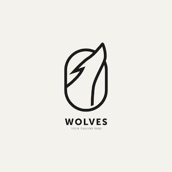 オオカミフラットミニマリストラインアートロゴテンプレートベクトルイラストデザインシンプルでモダンなロゴの概念