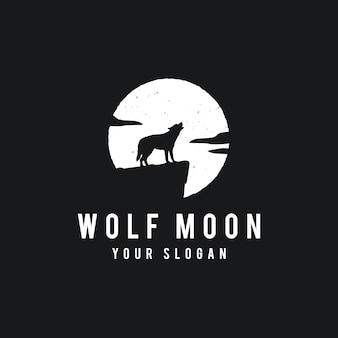 Wolf on the full moon background in grunge style
