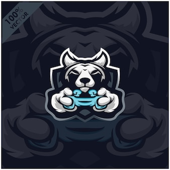 Wolf gamer holding game console joystick. mascot logo design for esport team.
