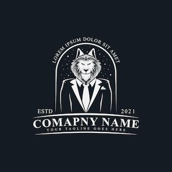 黒の背景にタキシードロゴベクトルイラストテンプレートデザインでエレガントなオオカミ紳士
