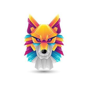 늑대 그라데이션 다채로운 로고