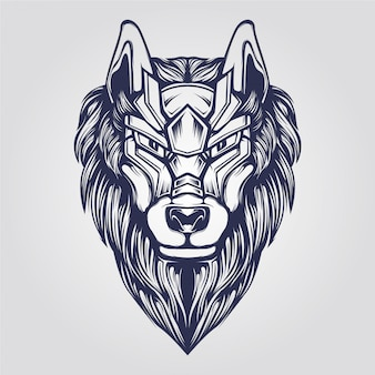 Wolf head abstract ornamental line art