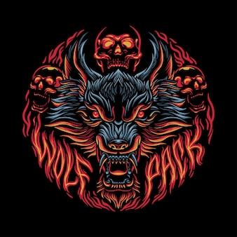 늑대 머리 화난 얼굴 그림 어두운 예술 벡터 디자인