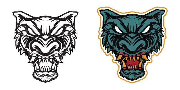 Wolf head art illustration for sticker or apparel merchandise