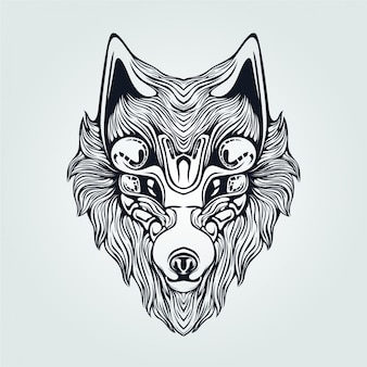 Wolf head decorative face line art for tattoo