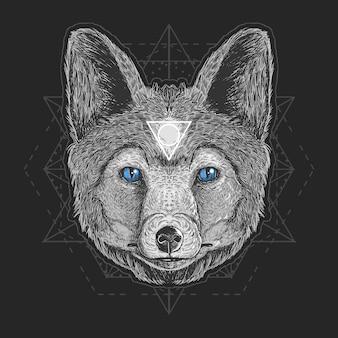 Wolf head detail vector engrave element