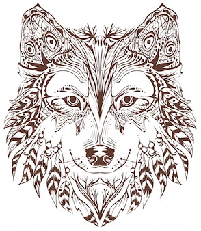 Wolf head in ethnic style