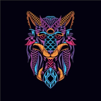 Wolf head from decorative neon color