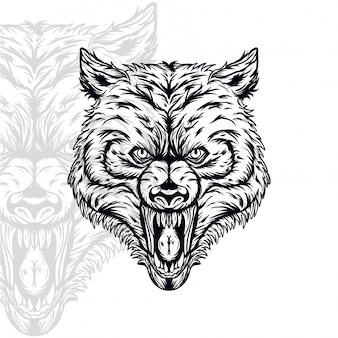 Wolf head furious vector illustration