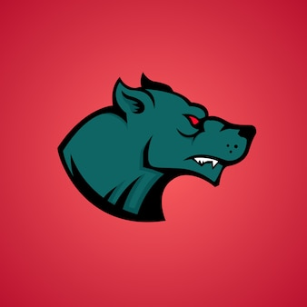 オオカミの頭のアイコン。ロゴ、ラベル、エンブレム、マスコットの要素。図