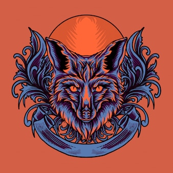 Wolf head illustration with ornament background