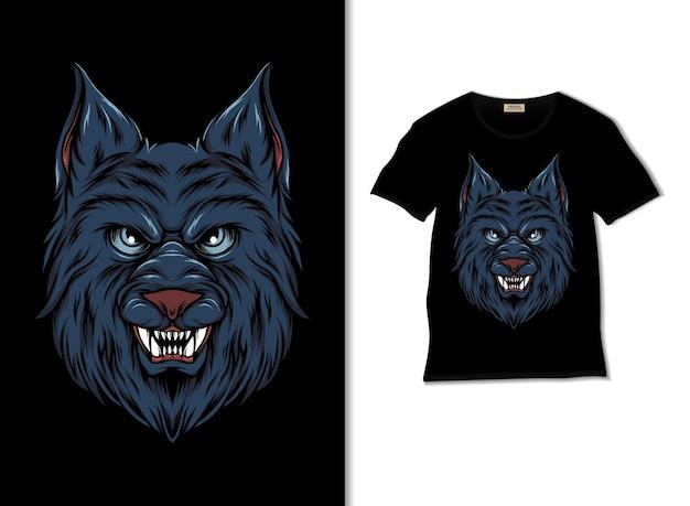Tシャツのデザインとオオカミの頭のイラスト