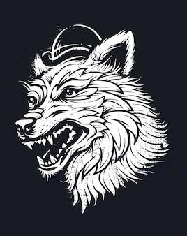 Голова волка в шляпе. иллюстрация стиля татуировки старой школы. векторная графика.