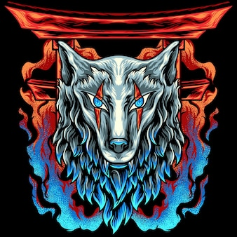 Wolf head japan with fire